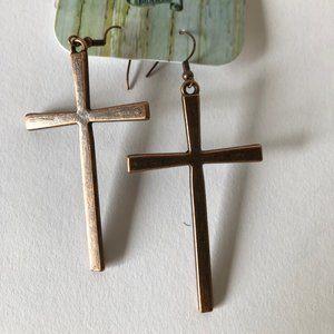 Copper Cross Earrings NWT